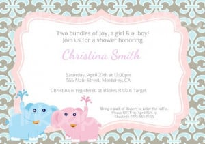 Elephants Twins Baby Shower Invitation Printable by JayJDesign, $7.00