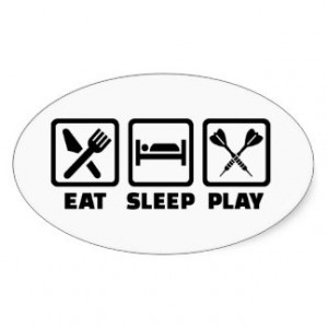 Eat Sleep Play Darts Oval Sticker