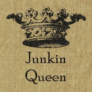Junkin Queen Crown Burlap Feedsack Fabric Large Image Transfer Instant ...
