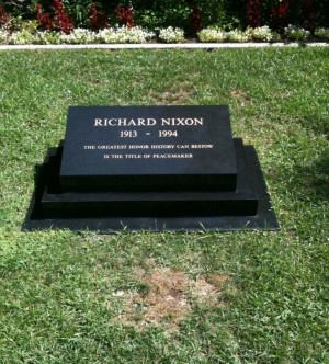 Richard Nixon turns 100 today. This is Nixon's gravesite headstone ...