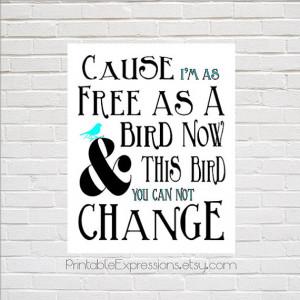Lynyrd Skynyrd Free Bird Song Lyrics Typography Poster. INSTANT ...