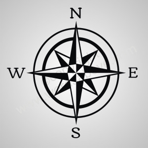 COMPASS Rose Vinyl Wall Quote Word Decal Nautical Boat Sail Beach ...
