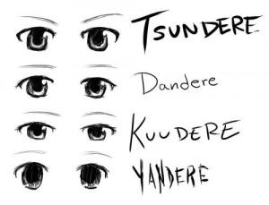 eyes, Tsundere, Dandere, Kuudere, Yandere, guide