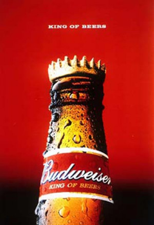 Budweiser beer ads - Top of Budweiser bottle with a crown.