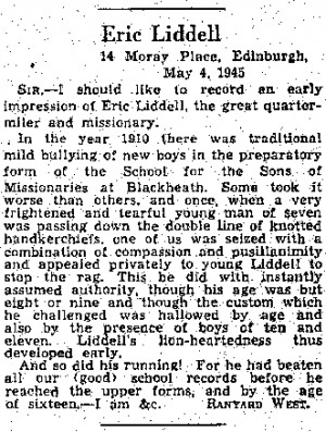 ... letter to the editor from someone who was at school with eric liddell