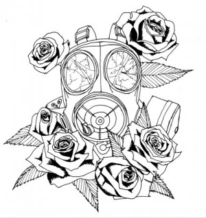Gas Mask Drawing Tattoo Gasmask and roses by bviolence