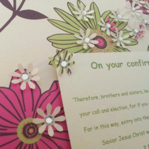 Handmade Floral Christian confirmation card, pink and green flowers ...