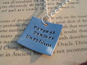 Labyrinth Quote Stamped Pendant Through by TheSpiralGoddess, $18.00
