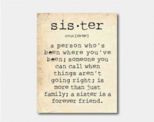 Wall Art - A sister is a person ... Sister Quote - Family - Typography ...