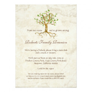... Tree Roots Antiqued Family Reunion Invite 5.5