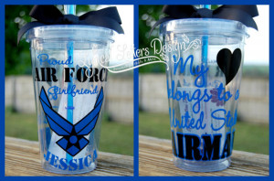 Air Force Girlfriend or Wife tumbler - 16oz personalized acrylic