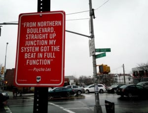 ... Rap Quotes' street art marks specific city locales mentioned on rap