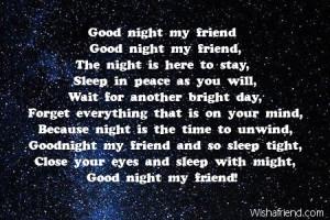 Good Night Poems Friend