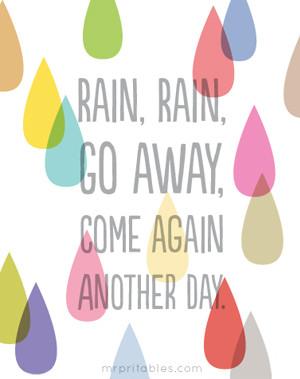 printable nursery rhyme rain rain go away