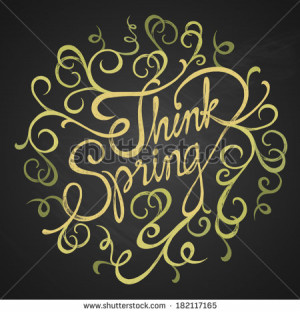 THINK SPRING - quotes on florist circle - hand drawn swirls on ...