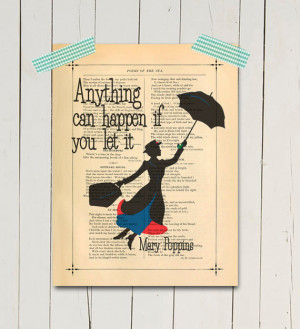 Mary poppins art print Inspirational poster print Mary poppins quote ...