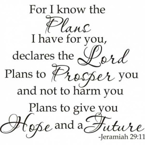 For I know the plans I have for you, Declares the Lord...