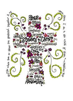 Sisters in Christ print of hand drawn cross wordart with Matthew 18:20 ...