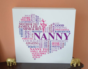 Canvas Nanny Print. Grandparent gif t. Personalised word art. Grandma ...