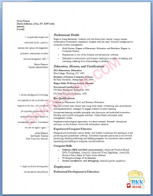 elementary teacher resume template free .