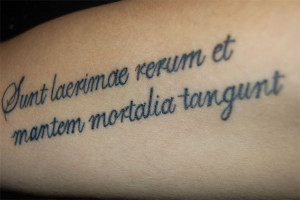 latin quote tattoo design on sleeve