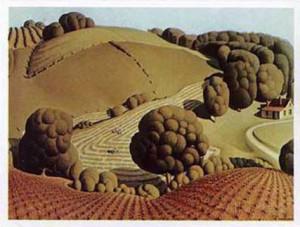 Grant Wood Landscape Young Corn Young corn, 1931 art print