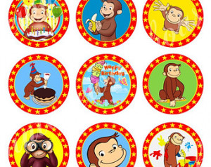 CURIOUS GEORGE Craft Circles - Inst ant Download Printable Cupcake ...