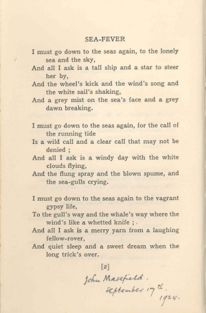Masefield Favourite Poems, John Masefield, Faves Sea Fever, Quotes ...