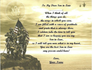 GiftFathers Day Gift Son In Law Personalized Poem Army. Son In Law Day ...
