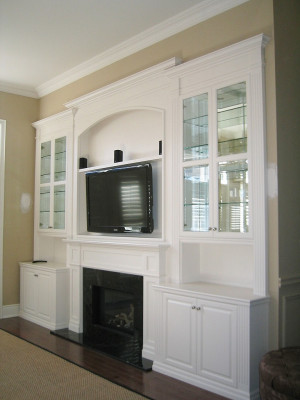 White Wall Units with Fireplace and TV Insert