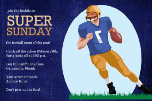Super Bowl Sunday football celebration invitation by PurpleTrail.