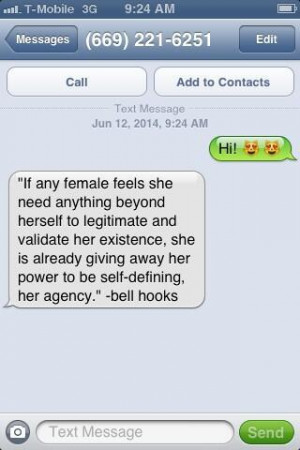 Fake Number Reads and Texts bell hooks Quotes to Unwanted Callers