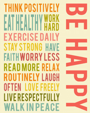Be happy positive life quotes, typography quote, inspirational wall ...