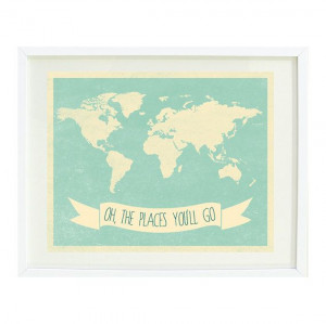 Oh, The Places You'll Go Quote Art Print 8x10-Chevron World Map-Grayed ...