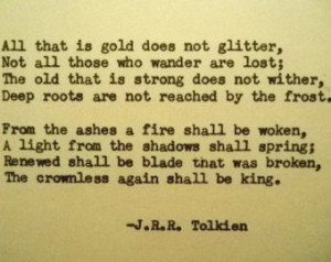 ... Quote with Vintage Typewriter gold does not glitter strength quote