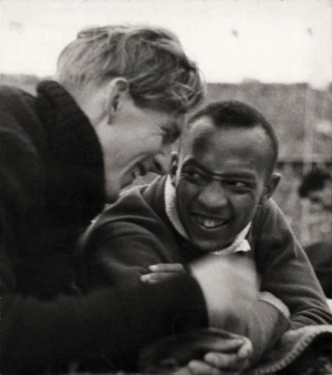 Luz Long and Jesse Owens, the two contenders in the long jump ...