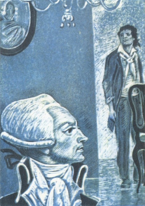 Illustration of Maximilien Robespierre and Jean-Paul Marat by Anatoly