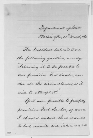 Description William H Seward Abraham Lincoln Fort Sumter.jpg