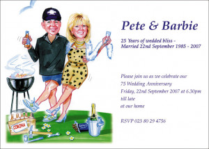 25D - Caricature couple at BBQ