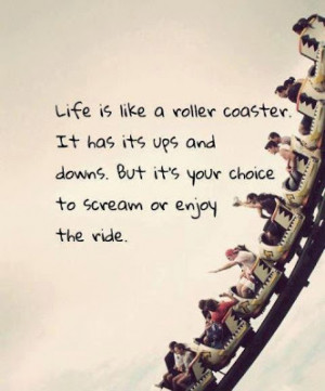 Life is like a roller coaster . It has its ups and downs. But its your ...