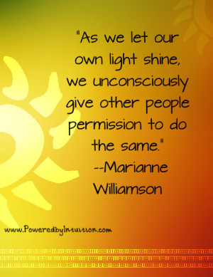 Marianne Williamson quote about shining our light