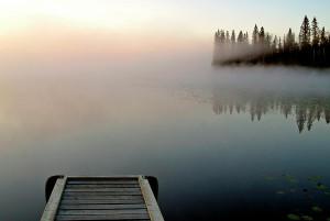Morning Mist Over Lynx Lake In Northern Saskatchewan Digital Art