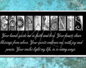 GODPARENTS Inspirational Plaque black & white letter art ...