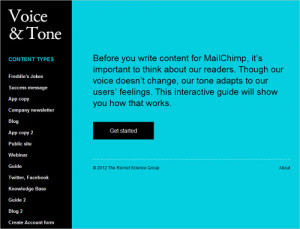 "Content types on MailChimp's ""Voice and Tone""."