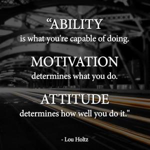 Ability | Motivation | Attitude | Lou Holtz Quotes