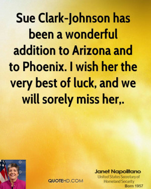Sue Clark-Johnson has been a wonderful addition to Arizona and to ...