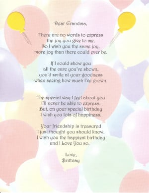 Grandma Birthday Quotes Poems
