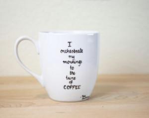 Quote Mug Hand Painted cup Ceramic Coffee mug personalized Mug Minimal ...