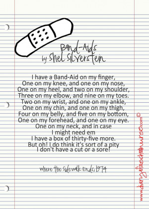 ... Quotes, Silverstein Band Aid, Bandaid Poems, Shel Silverstein, Band