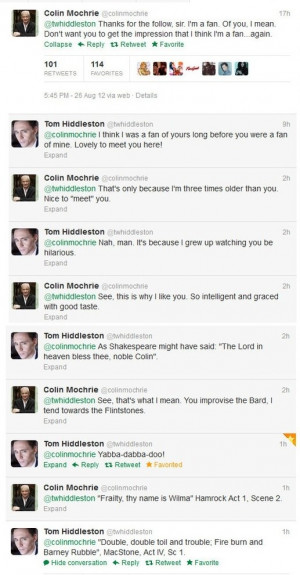 Colin Mochrie & Tom Hiddleston on Twitter: Colin O'Donoghue, Quotes ...